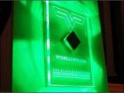 custom edge lit signs design,bespoke sign prototype, green leds illuminating laser engraving
