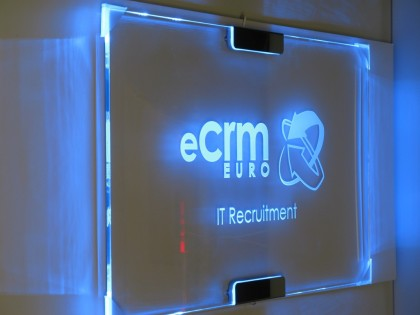 edge lit sign for office elegant design with blue leds