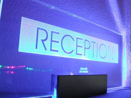 edge lit reception sign led blue